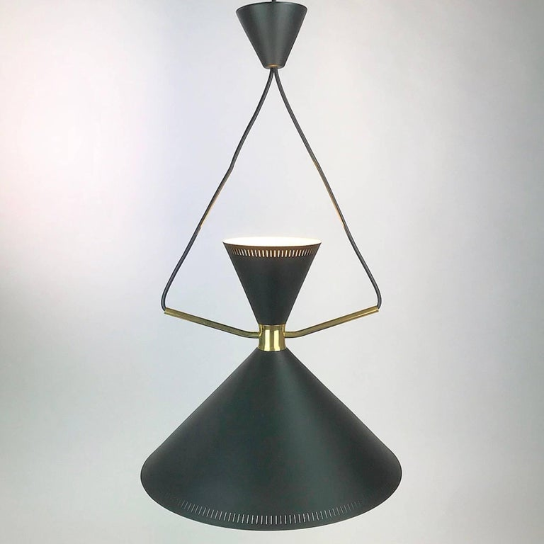Extremely Rare Stilnovo Inspired 1950s Pendant by Danish Lyfa Mid-Century Modern In Excellent Condition In Haderslev, DK