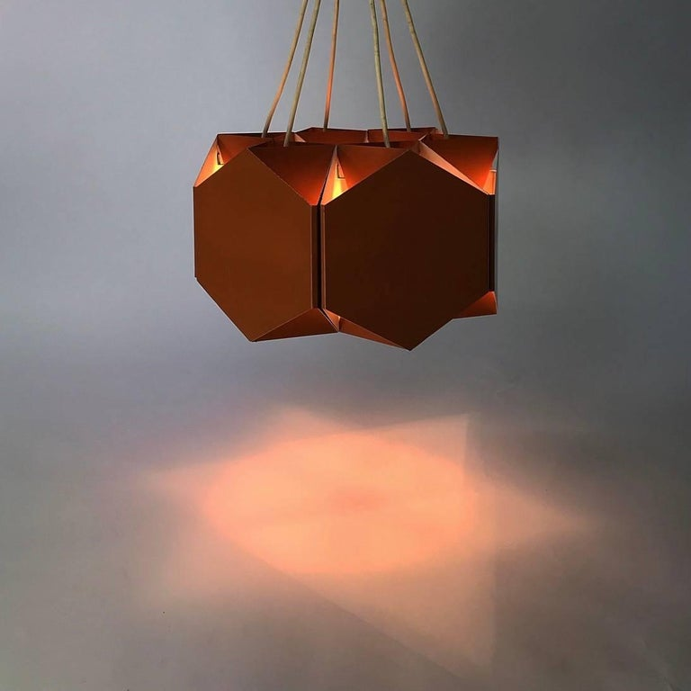 Metal Very Unique Chandelier by Ole Panton for Lyfa of Denmark, Mid-1960s For Sale