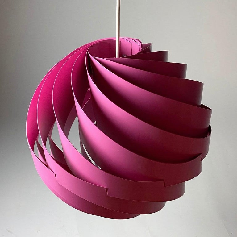Lacquer Pink Turbo Ceiling Light by Louis Weisdorf for LYFA, Denmark, 1970 For Sale