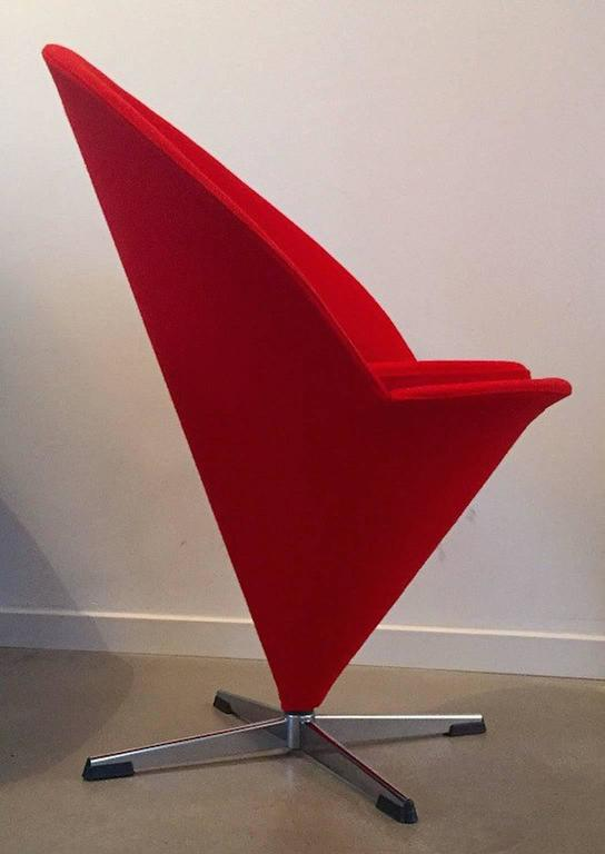Space Age Danish Design Mid Century Verner Panton K Series Cone Chair Red  Wool Fabric