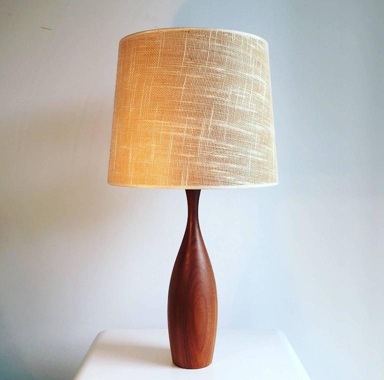 Mid-Century Danish Teak Table Lamp with Original Jute ...