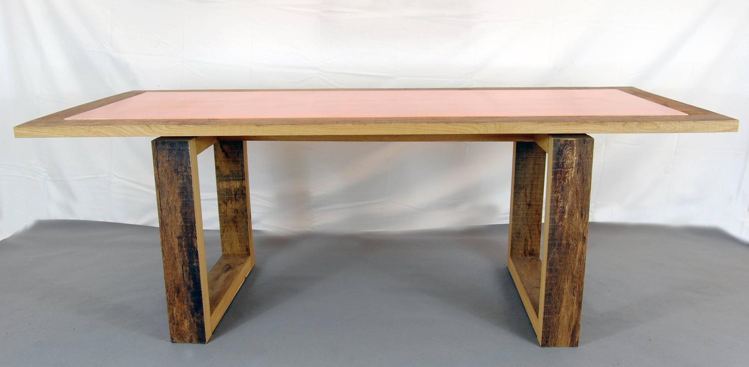 modern wood and copper dining table by michelangeli italy for sale at