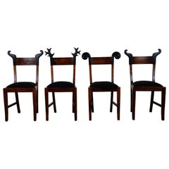Set of Four Black Forest Wood Chairs by Michelangeli, Italy