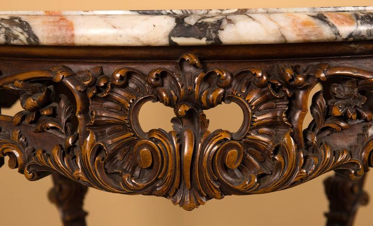 Louis XV Style Carved Coffee Table With A Marble Top, By Rosel, Belgium 3