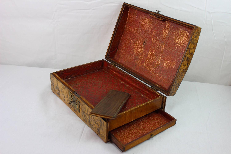 17th Century German Burl Walnut Box with Secret