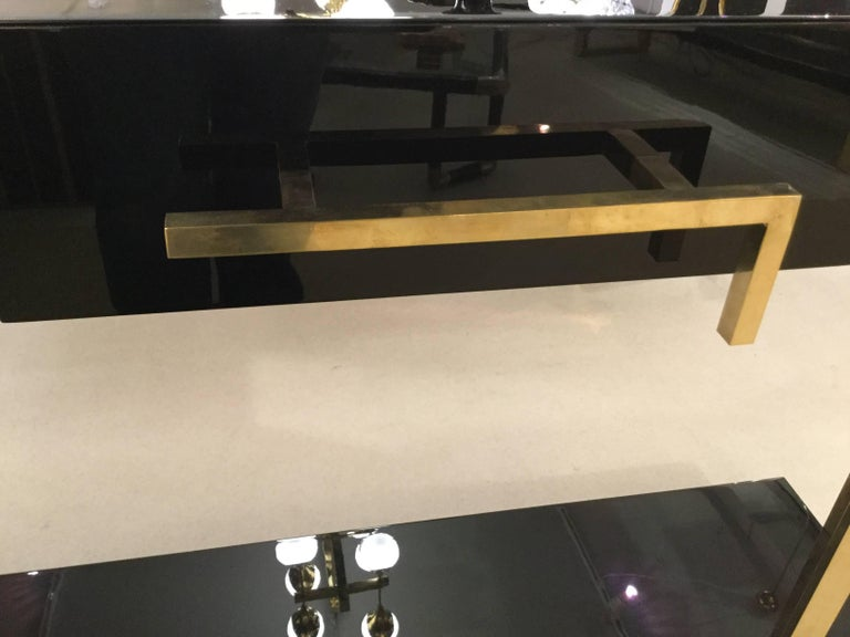 Modern Pair of  Italian Lacquered Console Tables on Brass Handle and Legs, circa 1980 For Sale