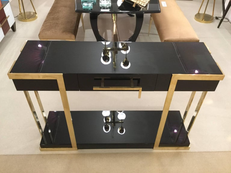 Pair of  Italian Lacquered Console Tables on Brass Handle and Legs, circa 1980 For Sale 2