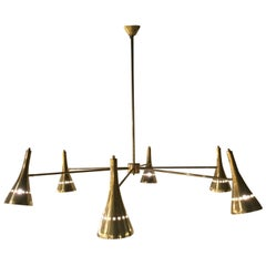 Italian Modernist Chandelier with Six Arms in Brass with Directional Shades