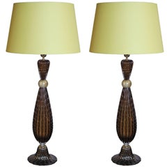 Pair of Murano Glass Tall Lamps in the Style of Barovier