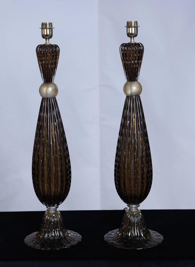 Modern Pair of Murano Glass Tall Lamps in the Style of Barovier, circa 1997 For Sale