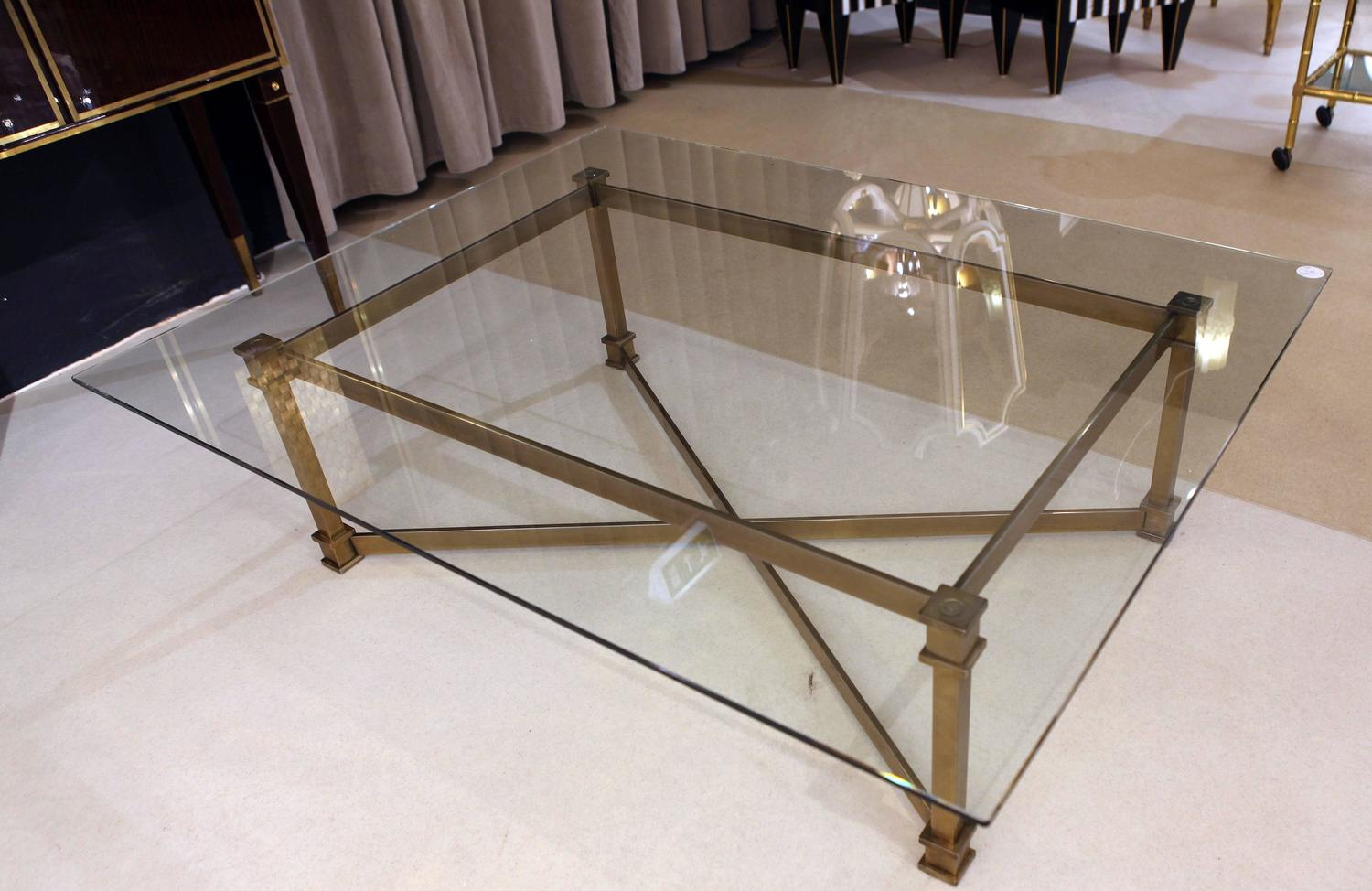 French coffee table brass and glass attributed to mason for French glass coffee table