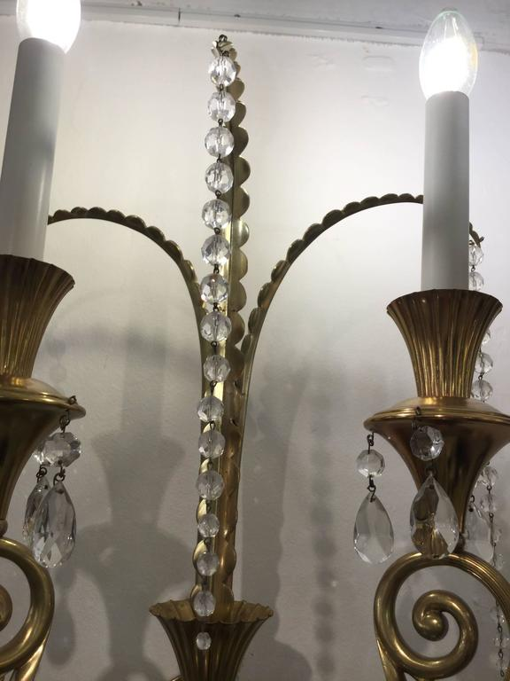 Pair of Monumental Italian Decorative Wall Lights with Cut Crystal Drops For Sale at 1stdibs