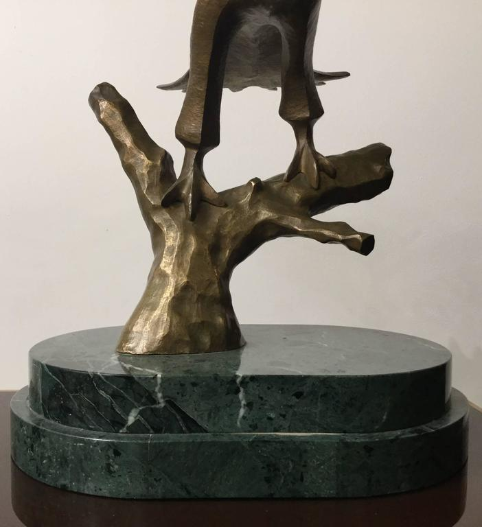 Modern Bronze Eagle Mounted on Green Marble Base For Sale