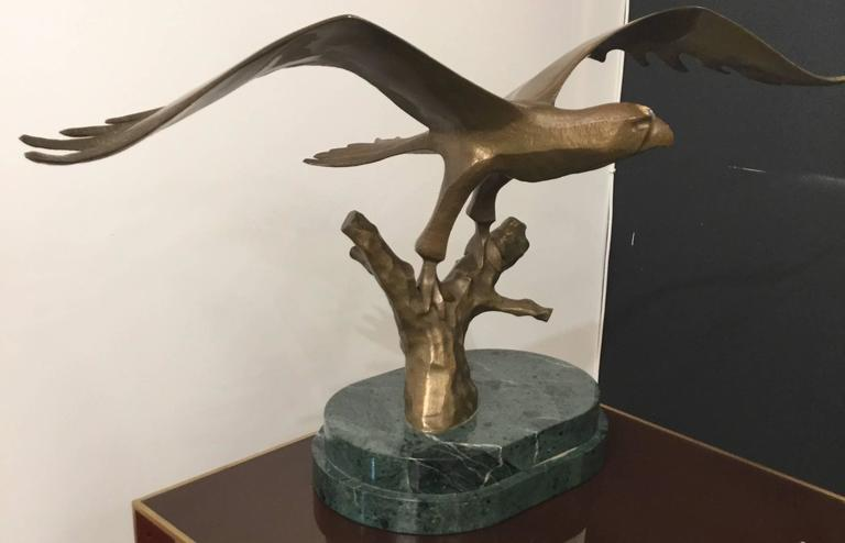 Bronze Eagle Mounted on Green Marble Base For Sale 1