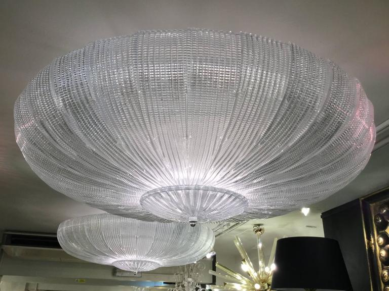 A monumental Venetian glass flush mount in Deco style.