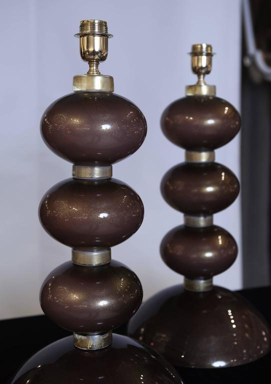 Modern Pair of Table Lamps in Bronzed Murano Glass For Sale