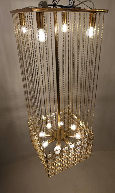 Chandelier In Gilded Metal And Glass In The Style Of Paco