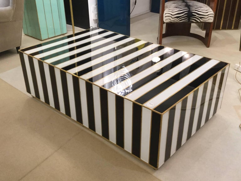italian post modernist zebra coffee table in black white glass and brass 1980 at 1stdibs. Black Bedroom Furniture Sets. Home Design Ideas