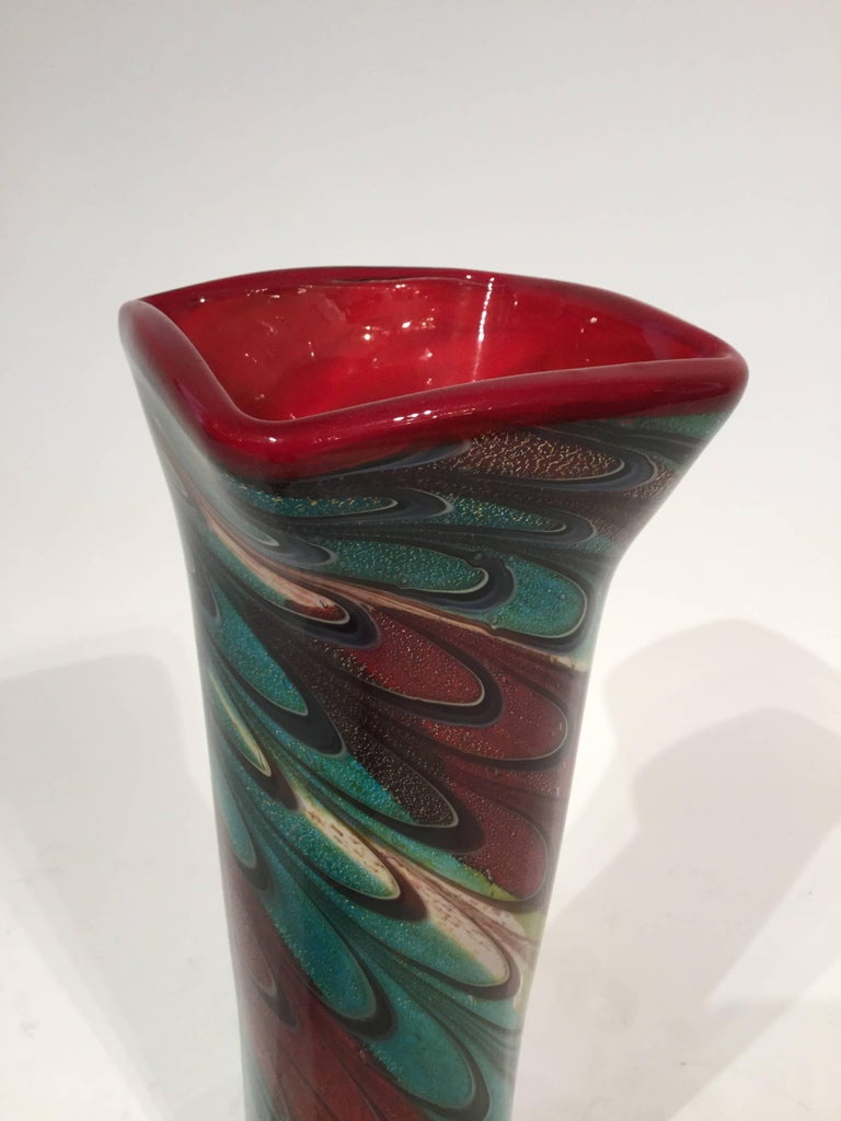 Murano Glass Tall Vase, 1980 For Sale 1