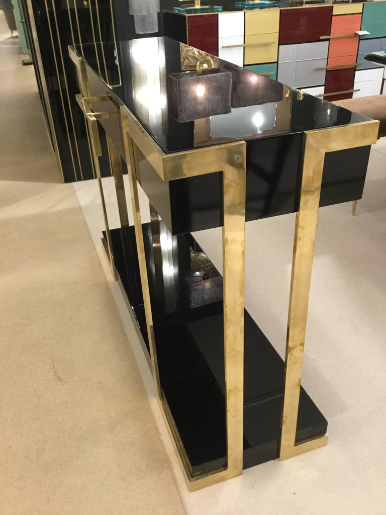 Pair of  Italian Lacquered Console Tables on Brass Handle and Legs, circa 1980 For Sale 4
