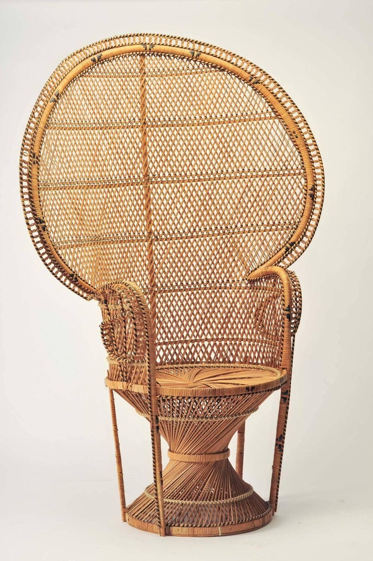 Iconic Emmanuelle Chair Midcentury Rattan Peacock Chair