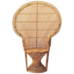 Iconic Emmanuelle Chair Midcentury, Rattan Peacock Chair