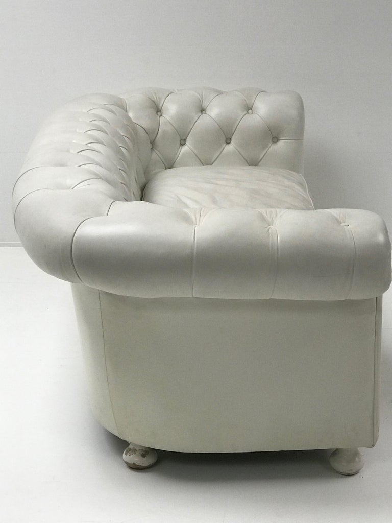 Leather White Chesterfield, Very Nice Patina For Sale