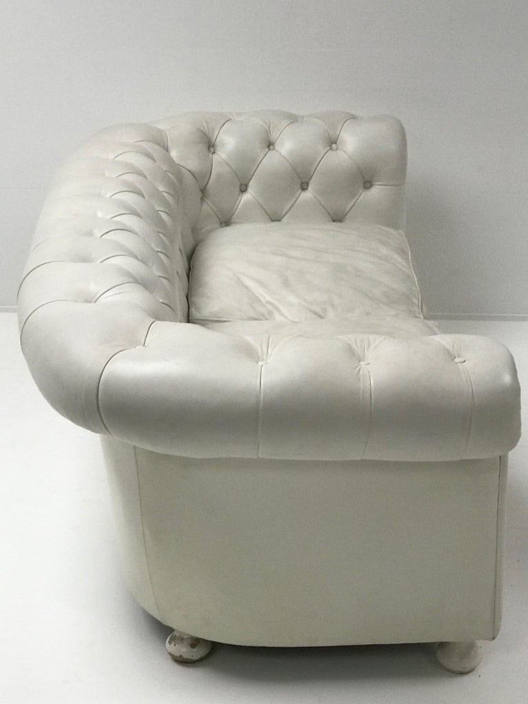 White Chesterfield, Very Nice Patina For Sale 2