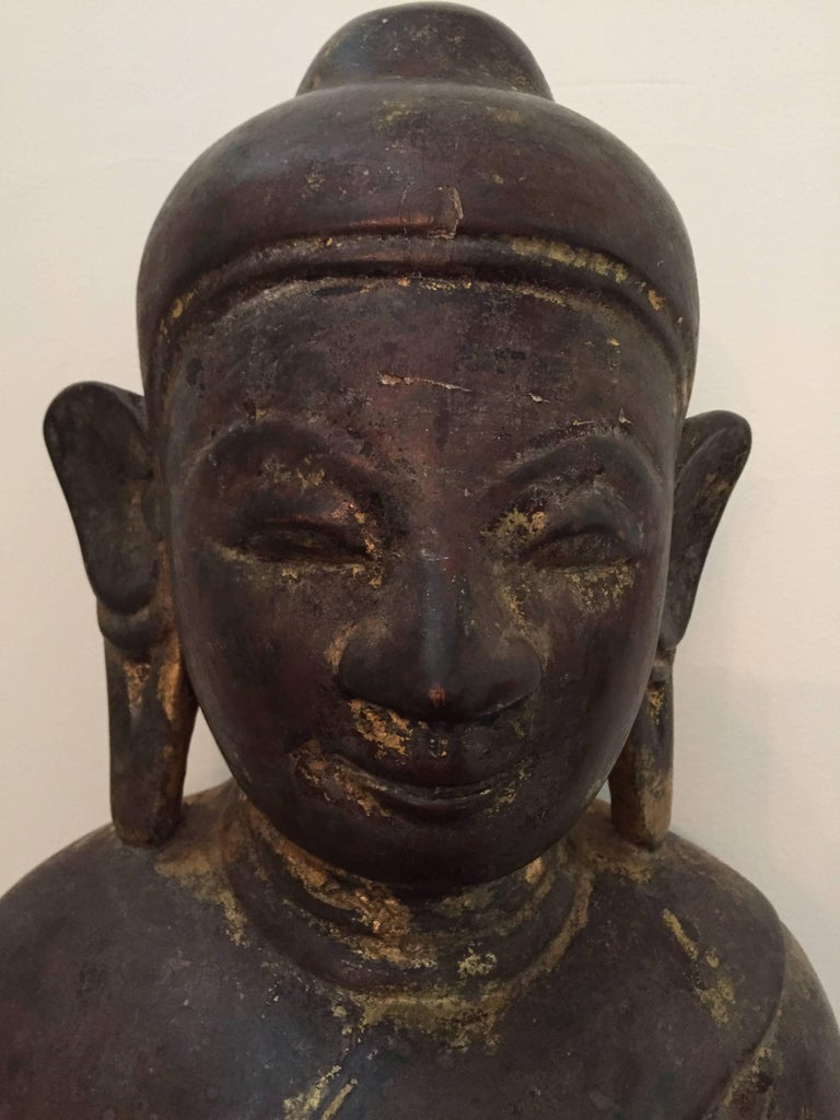 Burmese Wooden Buddha, 18th Century For Sale 4
