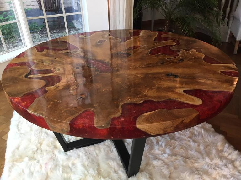 Modern Round Table, Teak And Resin For Sale