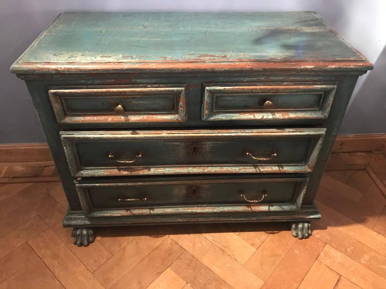 Italian chest of drawers,painted blue Bologna