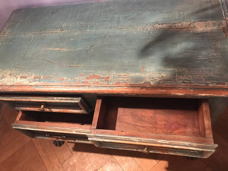 Patinated Painted Chest of Drawers For Sale