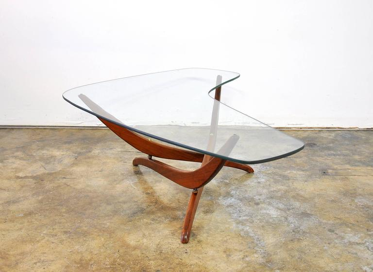 Forest Wilson Walnut And Glass Boomerang Coffee Table