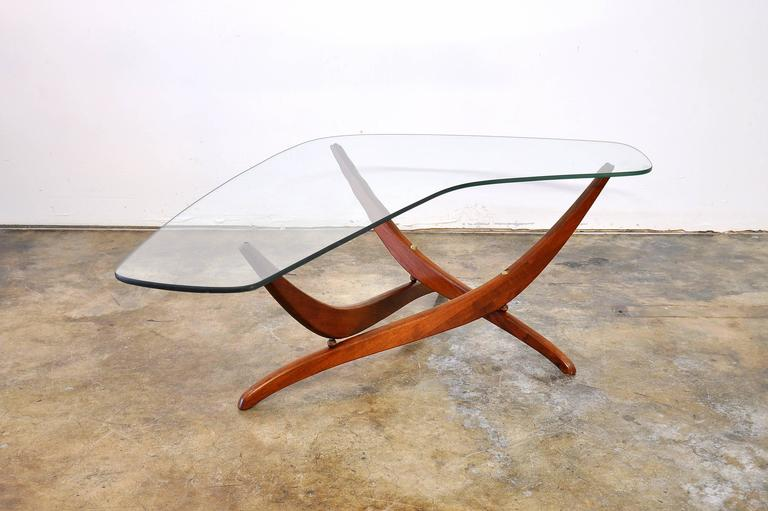 Forest Wilson Walnut And Glass Boomerang Coffee Table Circa At - Mid century modern boomerang coffee table