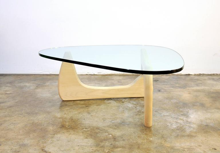 Bleached Isamu Noguchi For Herman Miller White Ash And Glass IN 50 Coffee  Table For