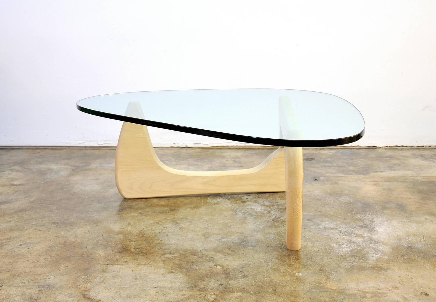 Isamu noguchi for herman miller white ash and glass in 50 coffee table at 1stdibs Herman miller noguchi coffee table
