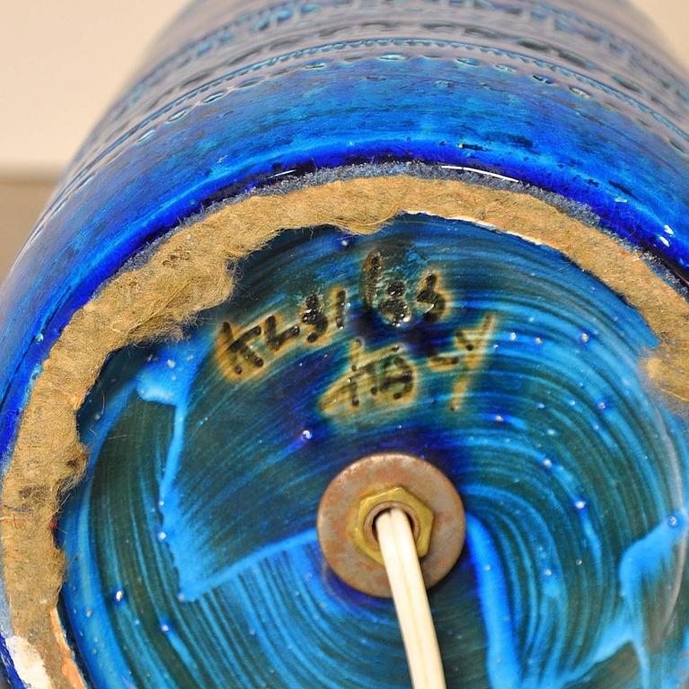 Aldo Londi for Bitossi Rimini Blu Italian Ceramic Lamp, circa 1960 4