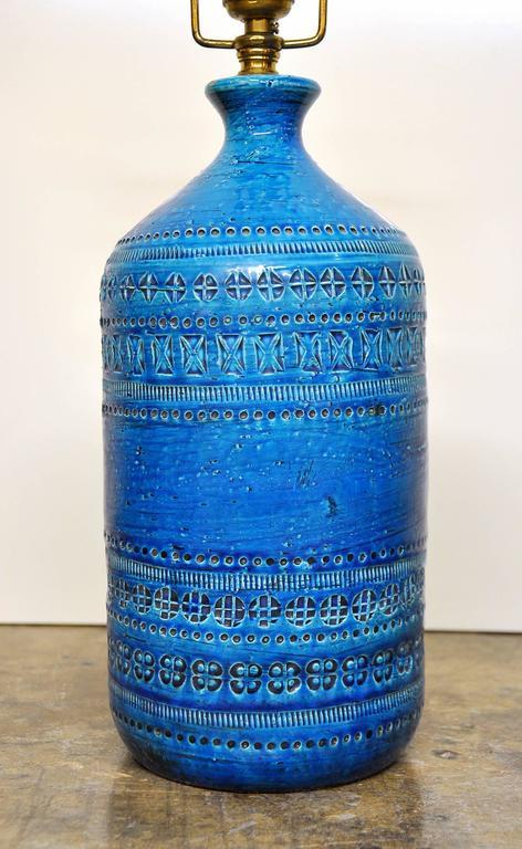 Mid-20th Century Aldo Londi for Bitossi Rimini Blu Italian Ceramic Lamp, circa 1960
