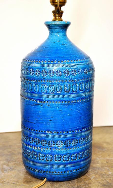 Aldo Londi for Bitossi Rimini Blu Italian Ceramic Lamp, circa 1960 1