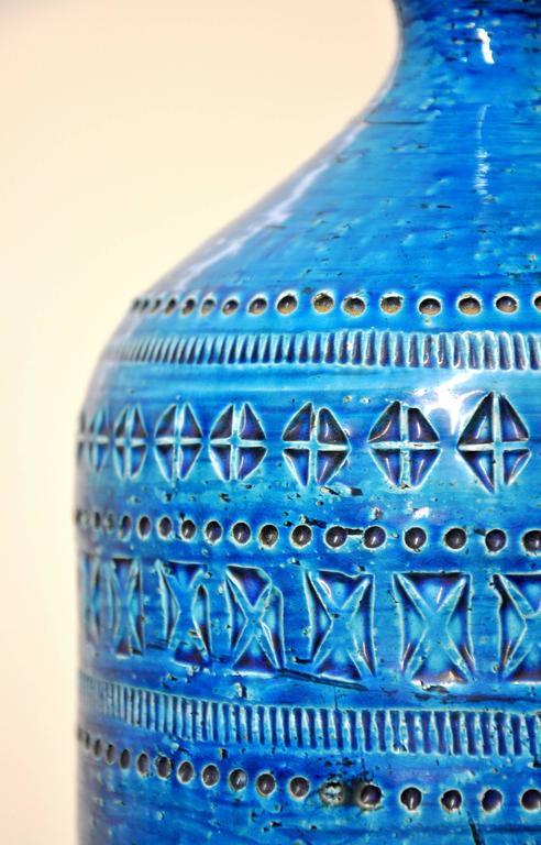 Glazed Aldo Londi for Bitossi Rimini Blu Italian Ceramic Lamp, circa 1960