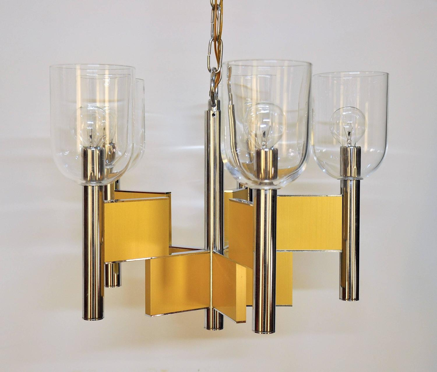 Geometric Brass Chandelier: Gaetano Sciolari Geometric Brass, Chrome And Glass