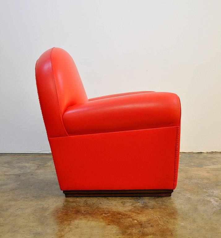 Poltrona Frau Vanity Fair Red Leather Club Chair at 1stdibs