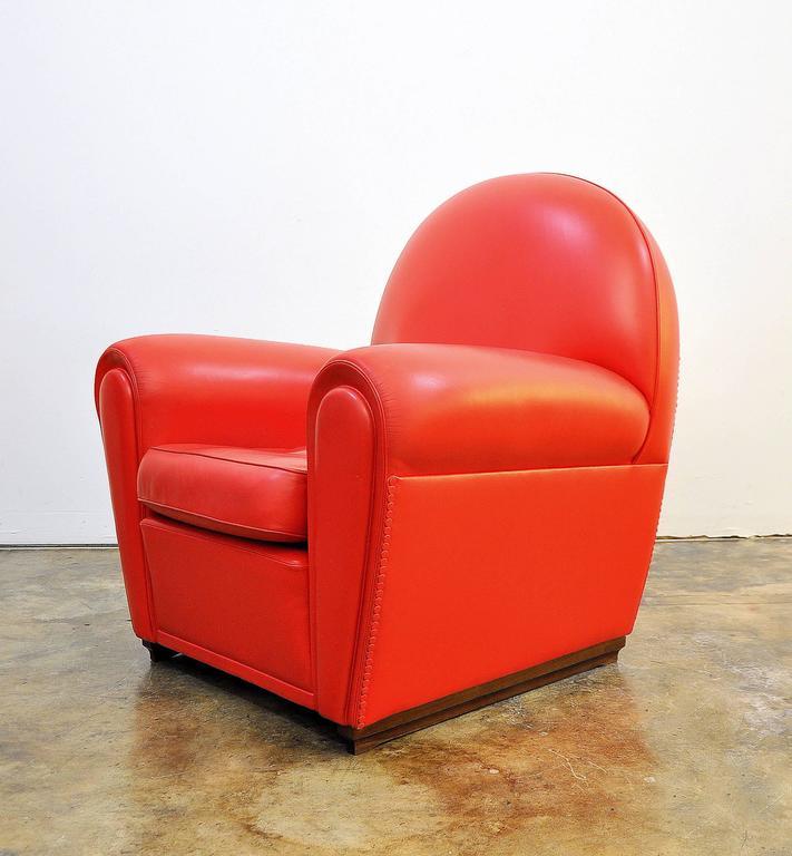 Poltrona Frau Vanity Fair Red Leather Club Chair at 1stdibs