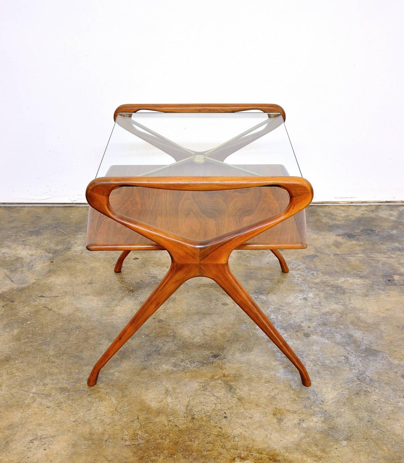 Italian Mid Century Modern Walnut Brass And Glass Two