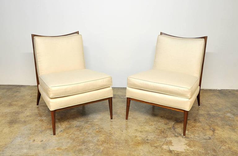 Pair of Paul McCobb for Directional 1320 Slipper Chairs In Excellent Condition For Sale In Miami, FL