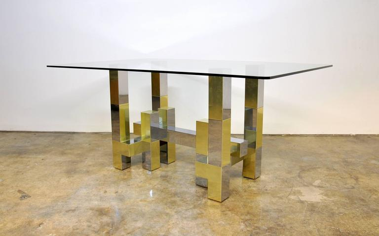 Paul Evans Cityscape Style Chrome Brass And Glass Dining