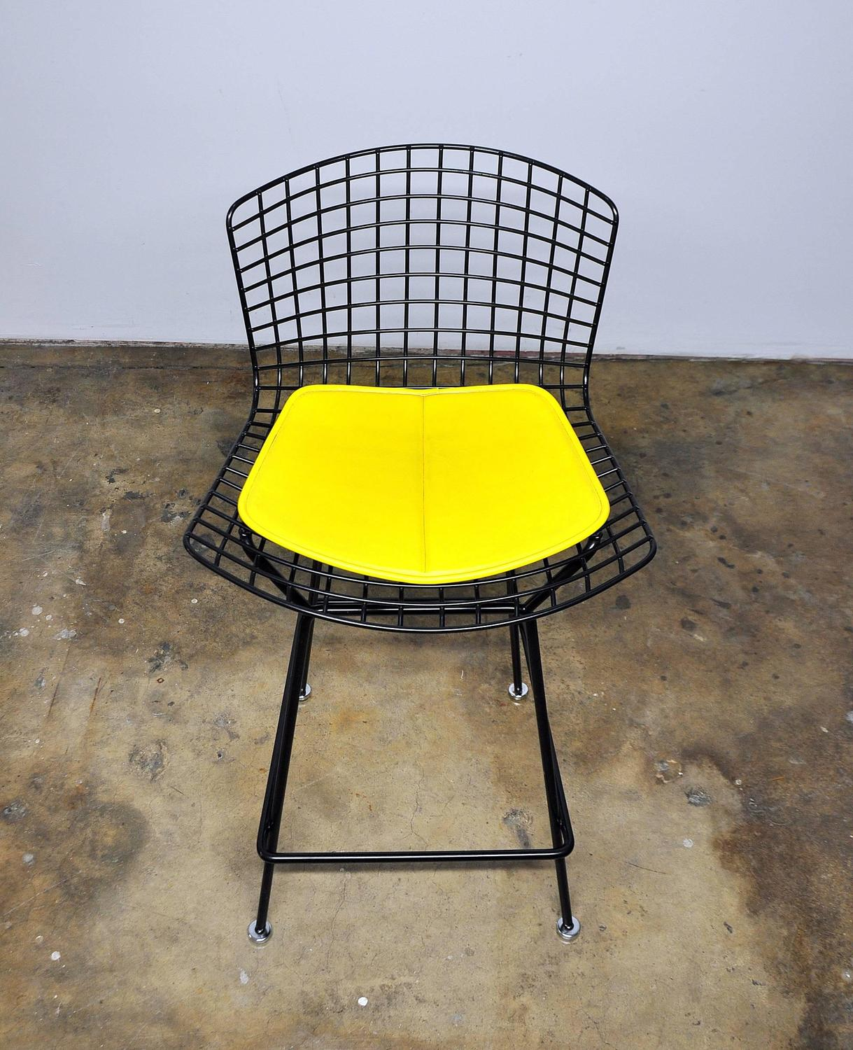 Knoll Harry Bertoia Black Bar Stool For Sale at 1stdibs