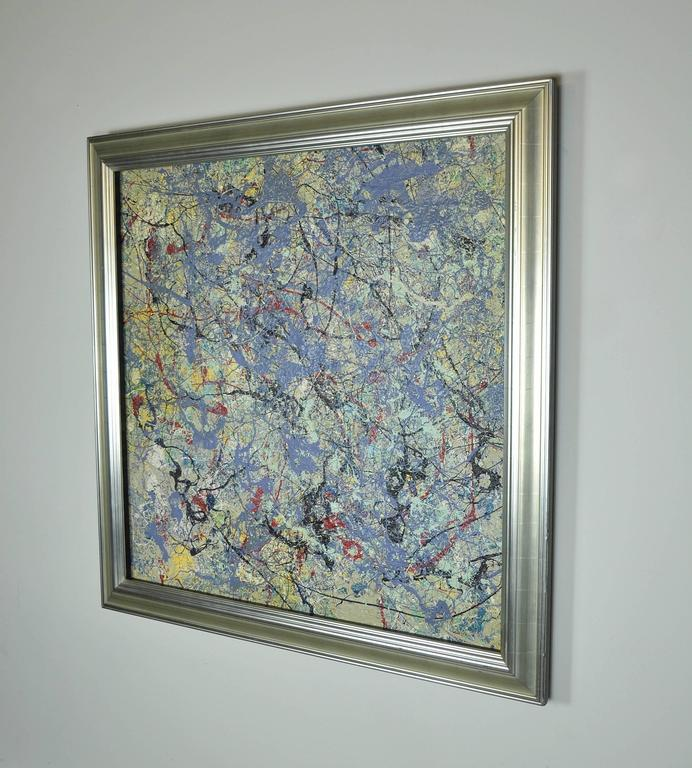 Striking acrylic on illustration board painting by contemporary artist John Frates (B. 1943.) Inspired by Jackson Pollock and painted in the midcentury abstract expressionist style, the work of art exhibits lilac paint complemented by yellow, red