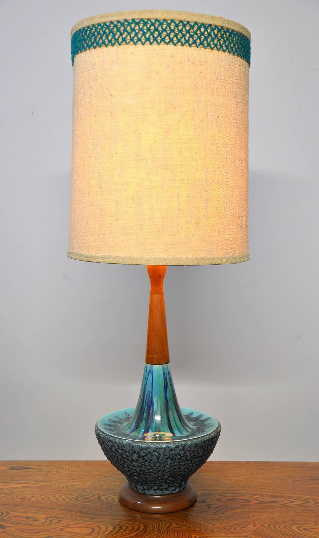 Large Danish Modern Drip Glaze Ceramic And Teak Table Lamp