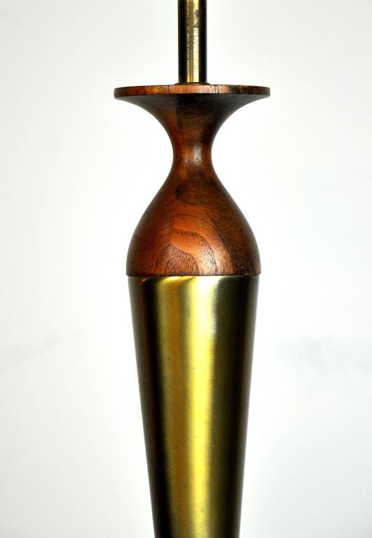 Tony Paul for Westwood Brass and Walnut Table Lamp 5